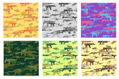 Collection of seamless patterns with camouflage made from weapons