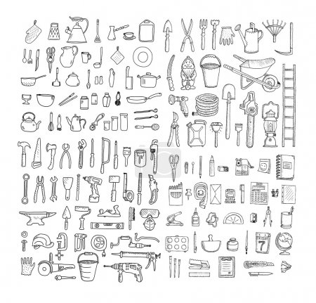 Illustration for Big household objects set. Kitchenware. Set of stationery. Garden tools. Construction tool collection. Doodles. - Royalty Free Image