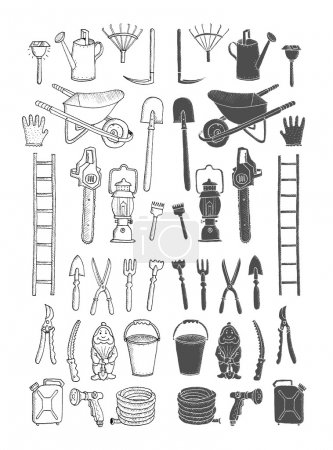 Hand drawn collection garden tools
