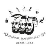 Original Barber shop Three skulls with different stylish hairstyles Trendy elements about hairdresser theme Hipster logotype Isolated