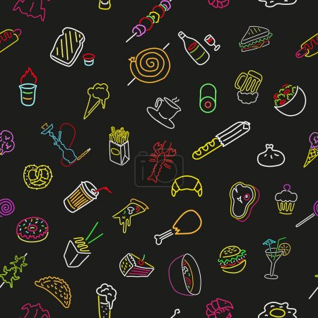 Photo pour Modèle sans couture avec des icônes néon de nourriture et de boisson. Doodle. Vecteur. Isolé - image libre de droit