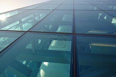 glass clad facade of a modern building