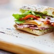 Healthy sandwiches made of a fresh seeded roll, cu...