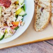 Cropped image of a colourful chicken salad with av...