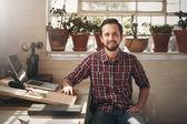 entrepreneur sitting in office space