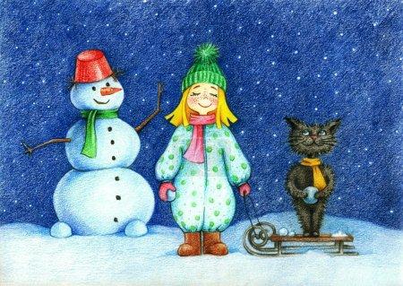 photo de fille chat et bonhomme de neige