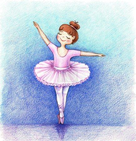 Photo pour Photo d'enfant d'un petit danseur de ballet sur scène près des crayons - image libre de droit
