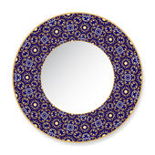 Blue decorative plate with gold pattern