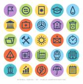 Set of minimal modern black line Icons Public administration environment urban life concepts on circular buttons on white background