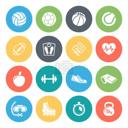 Sports and fitness round vector icons