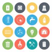 Energy fuel resources round vector icons collection in pastel colors Isolated on white background