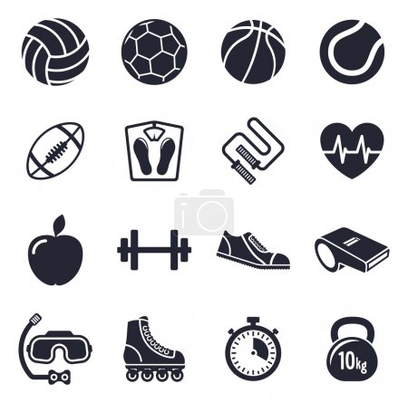 Sports and fitness vector icon set
