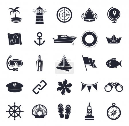 Nautical and marine icon set