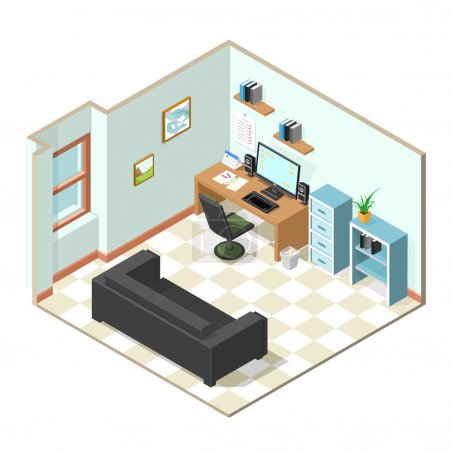 Working from home isometric vector.