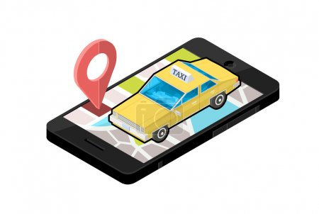 Vector Isometric Icon illustration for  Smart phone navigation - To finding a Taxi service.