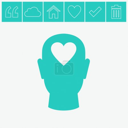 Illustration for Human head with heart vector icon. - Royalty Free Image