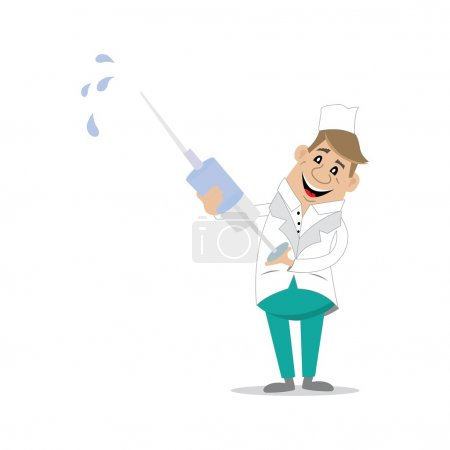 Illustration for Male doctor holding a syringe in his hands prepared to make the vaccine, vector illustration, cartoon - Royalty Free Image