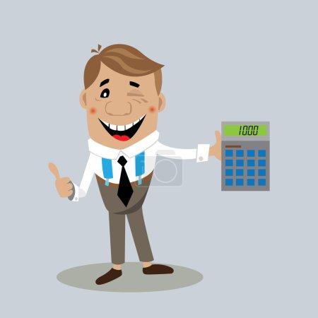 Illustration pour Homme d'affaires sur une calculatrice affiche le résultat des profits découlant de la transaction. Vector illustration, dessin animé - image libre de droit