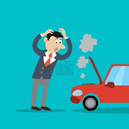 Illustration for The problem of the businessman, the car broke down. vector illustration of cartoon - Royalty Free Image
