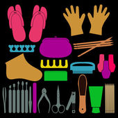 Vektorové sada nástroje pro manikúru, kosmetiku, nehty, ruce a