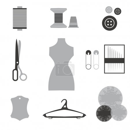 Sewing icons set. Hand-drawn cartoon collection of tailor tools