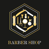 Hair salon barber shop sign and services design template