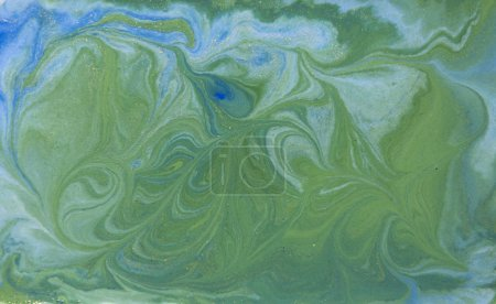 Green and golden liquid texture, watercolor hand drawn marbling illustration, abstract background