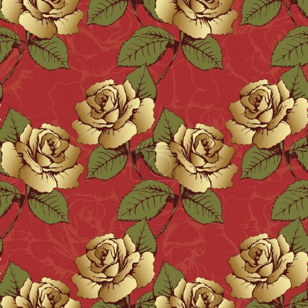 Seamless pattern from gold flowers roses. Woven flowers, buds, leaves and stems on a scarlet background with flowery patterns. Wallpaper, wrapper, packaging, fabric design, decor element, decoration