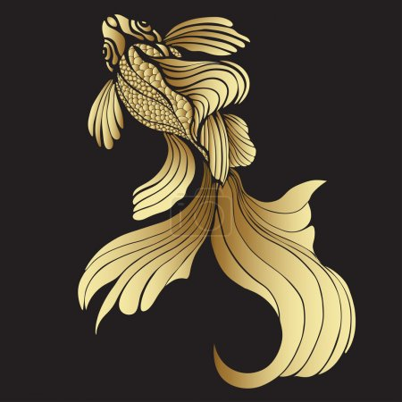 Gold fish, graphic. Decorative abstract fish, with golden scales, curled fins on black background. Jewel ornament. Rich, luxurious design element. Tattoo, print, decoration. Vector illustration
