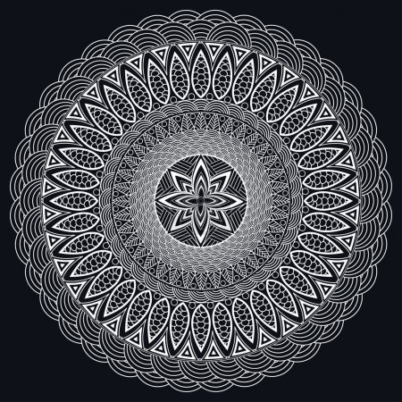 Illustration for Mandala monochrome. Boho style, hippie jewelery. Round Ornament Pattern. Vintage decorative elements. East pattern, Arabic, Indian. Can be used to design fabrics, print, tattoo. Vector illustration - Royalty Free Image