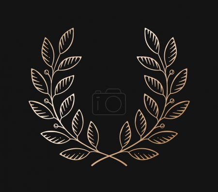 Set of old vintage object in engraving style. Laurel wreath icon isolated on a black background. Hand drawn design and element. Vector Illustration.