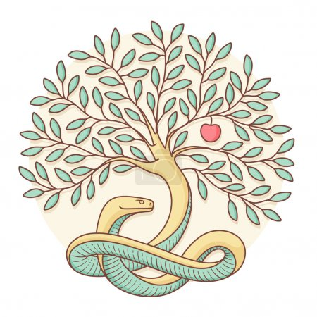 Tree of the knowledge of good and evil with snake and apple. Colorful design. Vector Illustration.