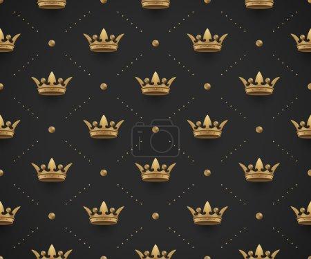 Illustration pour Motif or sans couture avec couronnes royales sur un fond noir foncé. Illustration vectorielle - image libre de droit