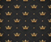 Seamless gold pattern with king crowns on a dark black background Vector Illustration