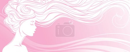 Illustration for Vector illustration. Beautiful silhouette of long hair woman on pink background. Concept design for beauty salons, spa, cosmetics, fashion and beauty industry. - Royalty Free Image