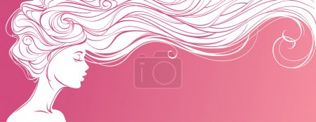 Beautiful silhouette of long hair woman on pink background