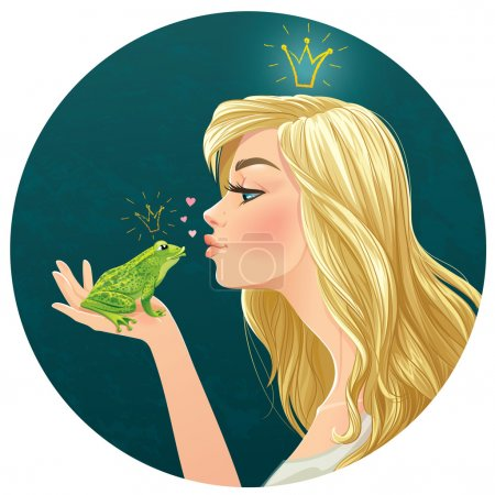 Beautiful young lady kisses a frog