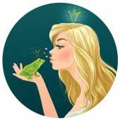 Krásná mladá dáma políbí žába