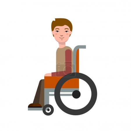 Illustration for Disabled child in wheelchair.  Boy in a wheelchair. Vector illustration. - Royalty Free Image