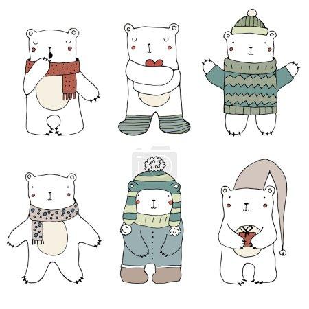 Illustration pour Ensemble d'ours polaires mignons, illustration dessinée à la main en vecteur - image libre de droit