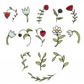Berries and flowers elements set  Hand drawn illustration made in vector