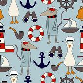 Kids vector seamless nautical pattern background