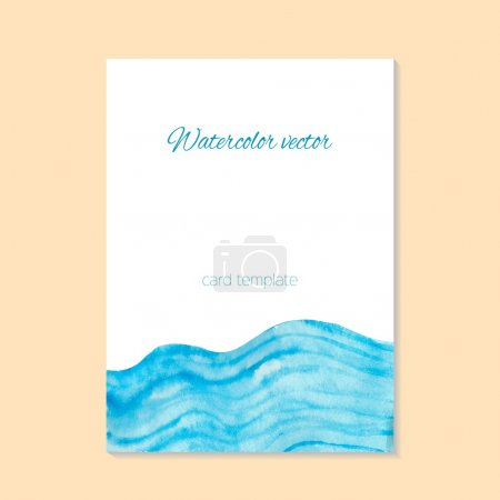card with watercolor waves