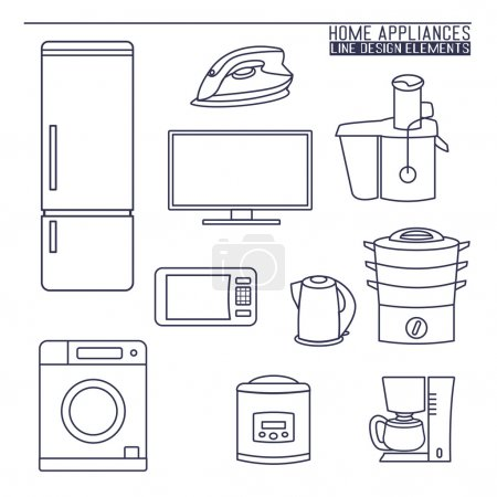Illustration for A vector collection of home appliance icons and line illustrations - Royalty Free Image