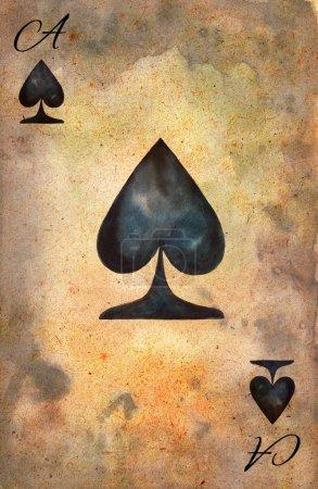 Photo pour As de pique. Modèle de carte à jouer. Vintage carte à jouer. Illustration aquarelle - image libre de droit