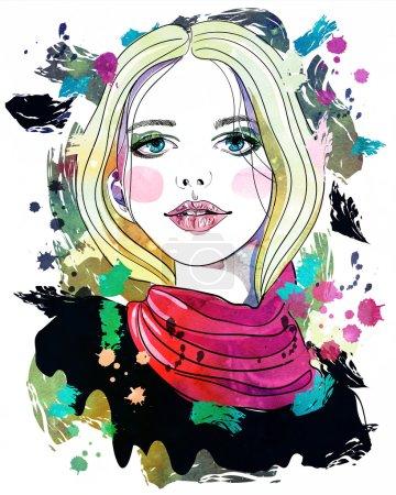 Photo pour Portrait de belle fille aux cheveux blonds sur fond abstrait. Illustration texturée à l'aquarelle. Imprimer pour T-shirt - image libre de droit