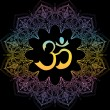 Om symbol, aum sign, with decorative indian orname...