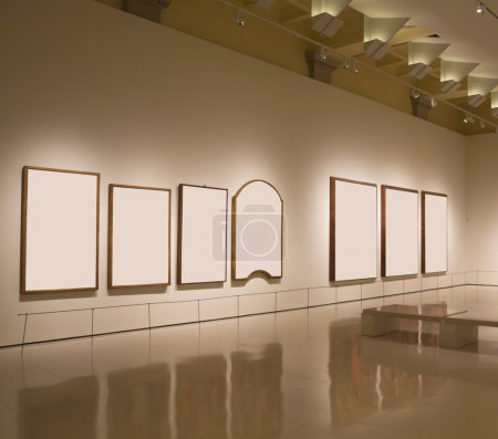 Blank frames in a wall, exhibition gallery indoor