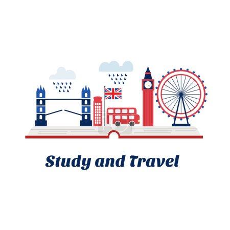 Illustration pour Concept de créativité pour les cours d'anglais ou de l'école à Londres. Ouvrez les livres avec Big Ben, bus londonien, téléphone rouge boîte, Tower bridge peut également être utilisé comme logo Agence de voyage. Réalisés en vectoriel. - image libre de droit