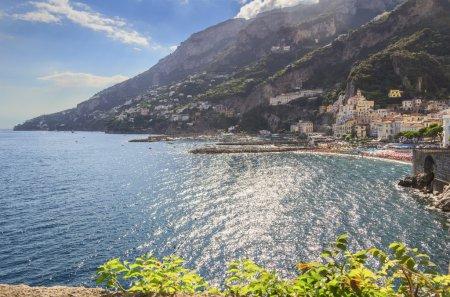 Amalfi coast (Costiera Amalfitana):panoramic view of Positano town.Italy (Campania).